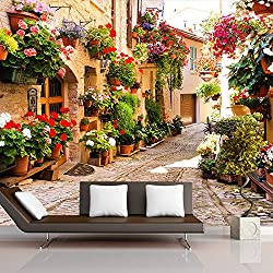 sshssh 3D Muralpour Mur Pastoral Ville Route Maison avec Fleurs Fond D'écran Salon TV Canapé Toile de Fond 3D Papier Peint-300x250CM
