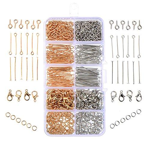 Satinior 700 Stück Schmuck Herstellung Set Open Jump Ringe karabinerverschluss Auge Pin Eyepin Schrauben Kopf Pins, Gold und Platin Farben