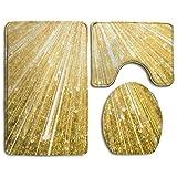 Badteppich, 3-Teiliges Badezimmer Teppich Set Gold Glitzer, Rutschfest Flanell Contour Teppiche Antibakteriell Matte für Männer Frauen Kinder, Badezimmer Teppiche, Badezimmer Zubehör