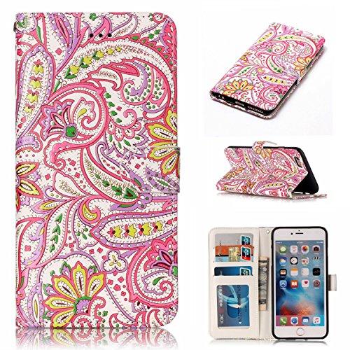 Coque iPhone 6 Plus Anfire Attrape Reve Motif Peint Mode Coque PU Cuir pour iPhone 6S Plus Etui Case Protection Portefeuille Rabat Étui Coque Housse pour iPhone 6 Plus / 6S Plus (5.5 pouces) Luxe Styl Rose