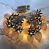 Prevently 2 Stück Lichterkette Außen, LED Ananas Lichterkette1.5M Weihnachtsbeleuchtung Wasserdicht Dekoration Außenlichterkette, LED Lichterketten für Weihnachten Deko Party Festen (Roségold)