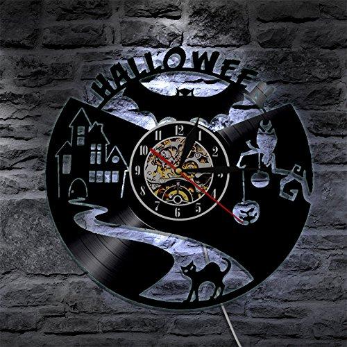 YUN Clock@ Fröhliches Halloween Wanduhr Aus Vinyl Schallplattenuhr Upcycling LED Familien Dekoration 3D Design-Uhr Wohnzimmer Schlafzimmer Restaurant Wand-Deko Schwarz/Durchmesser 30 cm
