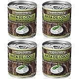 Naturseed - Nata de coco ecológica 4x 200ml para cocinar, montar, sin lactosa, sin aditivos, ni conservantes, 100% natural. Nata Vegetal