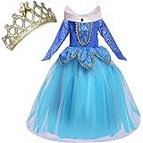 NNDOLL Aurora Principessa Vestito sleeping beauty Costume bambina carnevale abito Partito Ragazza Cerimonia (blu 150/7-8 anni)