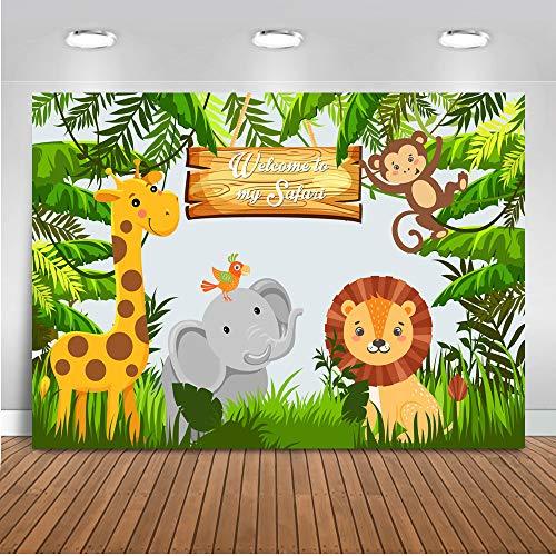 Mehofoto Willkommen zu meinem Safari-Hintergrund Safari-Party Waldtierwiese Foto-Hintergrund 7x5ft Affe Elefant Kinder Geburtstagsparty Foto Studio