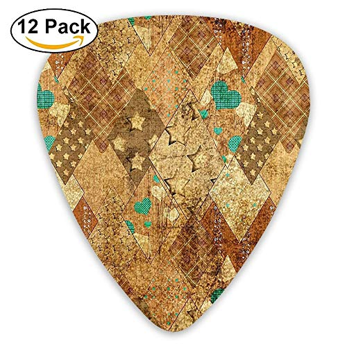 Murky Vintage Geometric Diamond Triangle Formed Patchwork Quilt Motif Guitar Picks 12/Pack Set Camo Quilt