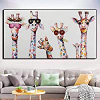 Tableau Toile Decoration 30x60CM sans Cadre Famille d'animaux Girafe Colorée pour Enfant Art Mural Photo Salon Décor À…
