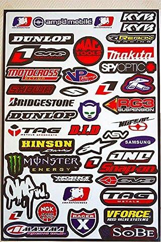 Autocollants Stickers MX FX Deco Motocross VTT ... Planche de 42 stickers