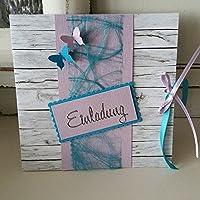 10 Stück Einladungskarte Hochzeit Shabby HOLZ FLIEDER Türkis