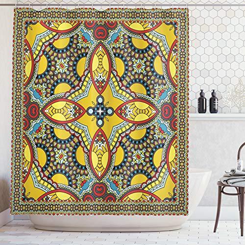 ABAKUHAUS Orientale Tenda da Doccia, Medio Oriente Motivo Esotico Floreale Differente Immagine con Dettagli Curvi, Stampa Digitale su Tessuto, 175 x 200 cm, Multicolor