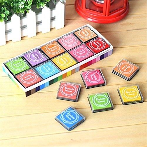 Delmkin Stempelkissen Fingerfarbe 20 Stück Kleine Bunte Fingerdruck Set