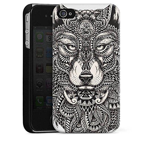 Apple iPhone 4 Hülle Case Handyhülle Mandala Wolf Hund