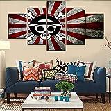 WEPAINTING Un Set 5 Pannello Anime One Piece Logo Bandiera Giapponese Poster Modern Artwork Camera da Letto Decorazione della Parete di Alta qualità Canvas Print Painting, 40X60 40X80 40X100cm,