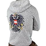 Hoamatkult Österreich Jacke Herren - Strickfleece (Large, Grau-Meliert)