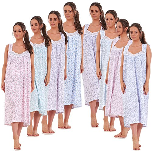 Bay eCom UK Ladies Nightwear Floral Print 100% Cotton Sleeveless Long Nightdress M to XXXL