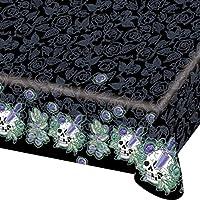 Nappe Skull & Roses 180 x 120 cm - nappe de table de fête - décoration d'Halloween - couvre-table - déco d'Halloween
