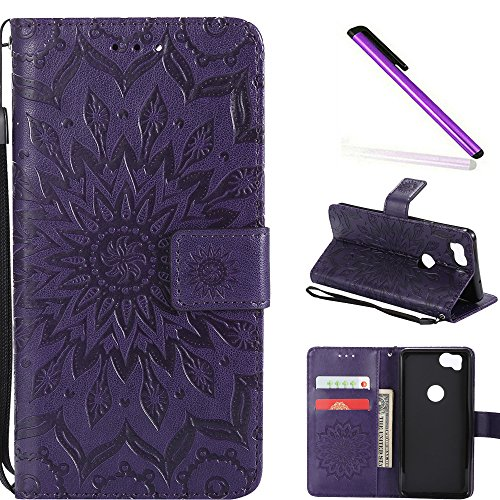 COTDINFOR Google Pixel 2 Protection Case For Girl Elegant Retro Flip Case Wallet PU Premium Leather Magnetic Slim Stand Covers Card Holder for Google Pixel 2 Purple Sunflower KT.