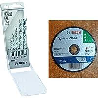Bosch 2608590090 Masonry Drill Bit Set (5-Pieces)+Bosch AG4 Metal 4-inch Cut Off Wheel Set (White, Pack of 10)