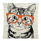 Violetpos Kissenhülle Deko Weinlese -nette Katze Sofa Zierkissenbezug Auto Zierkissenbezüge Kissenbezüge Bettwaren & Bettwäsche Kopfkissen Kissen 50 x 50 cm