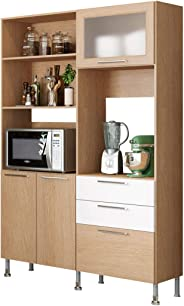 Ditalia Moveis Kitchen Cabinet, Brown And White, CD375