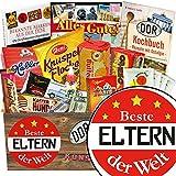 Beste Eltern der Welt | Süßigkeiten Set | Geschenk Korb | Beste Eltern der Welt | inkl Markenbuch | Geschenkideen Silberhochzeit Eltern | inkl. DDR Kochbuch
