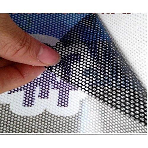HOHO 137cmx300cm Sichtschutz Schutz Mesh Fenster Folie selbstklebend One Way Vision Tönung (schwarz) (Vinyl-mesh)