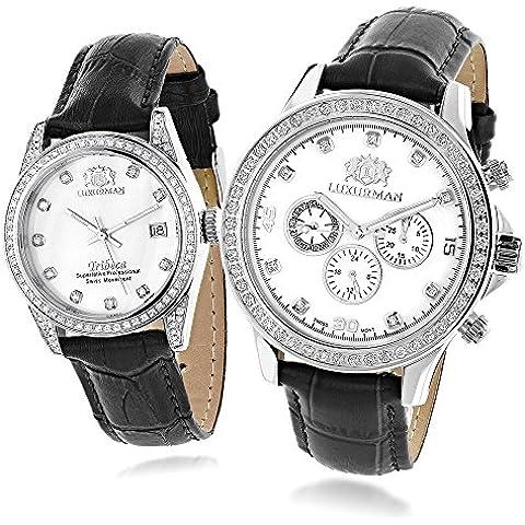 Swiss Mvt LUXURMAN Coordinato per lui e diamante vero orologi W Nero Cinturino in pelle bianco MOP