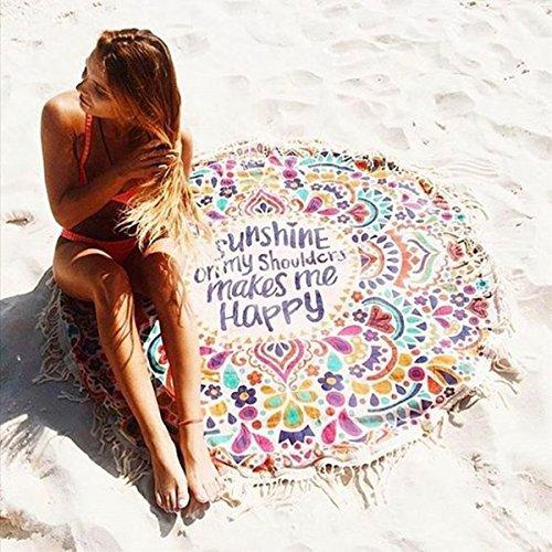 OUTERDO Serviette de Plage, Drap de plage Serviette Plage Mandala Femme Tapisserie Ronde Fleurs Serviette Plage Yoga Glands Décoratifs Indien Châle de Yoga
