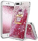 OCYCLONE iPhone 7 Plus Hülle Glitzer, Treibsand Fließende Kristall Glitzer iPhone 7Plus/8 Plus Hülle für Mädchen Frauen, Bling Glitzer Rosa Muster iPhone 7Plus/8 Plus Schutzhülle Glitzer