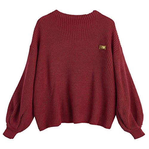 ZAFUL Damen Chevron Patches Oversized Pullover Sexy lose Große Langen Ärmeln V-Ausschnitt Fledermausflügel Herbst und Winter Ärmel Sweater Pulli Outwear(Weinrot)