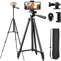 Sunfoto Trépied Smartphone 51 inch 130cm Aluminium Léger 38cm-130cm avec Télécommande Bluetooth, Porte-téléphone et…