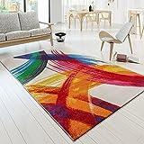 Designer tappeto multicolore arte pezzi Picasso Brush Optik Modern Multi Crema Giallo Rosso, Polipropilene, 120 x 170 cm