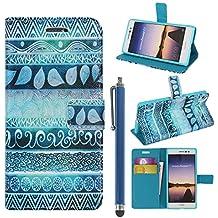 Hunye PU Cuero Carcasa Funda para Huawei Ascend P7 Flip Case con Soporte Tapa Indio Patrón Cover con Stylus Pen azul