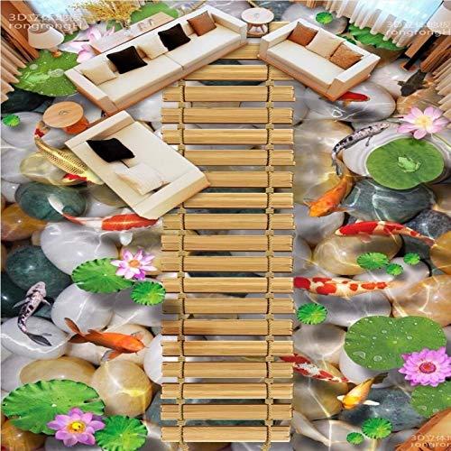 ASGJLH Holzbrücke Lotus Karpfen Steinboden 3D Bodenfliesen Tragen rutschfeste wasserdichte Badezimmer Wohnzimmer Tapete Wandbild