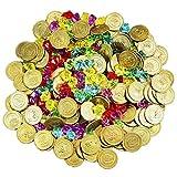 JOYIN 288 Pièces de Monnaie Doré et Bijoux Pirate Gems Jouer des Pièces de Trésor Set pour Fête de Pirates Party Favor (144 Pirate Pièces d'or + 144 Gems)...