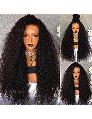 Qd-tizer 180Dnesity Courroie Cheveux bouclés synthétique Lace Front Perruques Noir Cheveux longs Perruques pour...