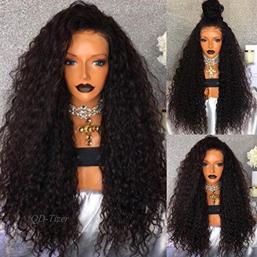 Perruque pour femme QD-Tizer - Cheveux longs noirs synthétiques, bouclés et détachés, avec filet d'attache à l'avant - Densité 180 - 66 cm