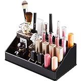 INOVERA 16 Compartment Cosmetic Makeup Jewelry Lipstick Storage Organizer Holder Box, 21.2L x 12.5W x 7.8H cm. (Black)