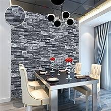 Papel pintado de la pared de ladrillo negro gris papel pintado de la pared del papel de pared del efecto de la piedra del Faux