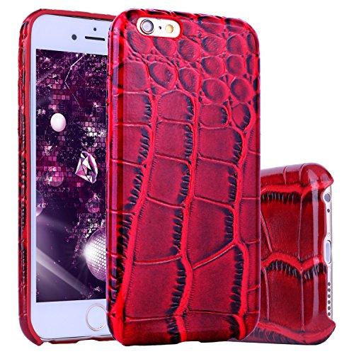 Preisvergleich Produktbild iPhone 6 Hülle Krokodil,  ZXK CO TPU+PU Leder Silikon Weich Schutzhülle 3D Print Krokodil Muster Handyhülle für Apple iPhone 6 / 6S 4.7 Zoll-Rot