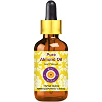 Deve Herbes Pure Almond Oil (Prunus dulcis) with Glass Dropper 100% Natural Therapeutic Grade Cold Pressed for Skin…