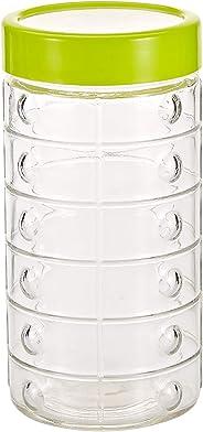 Harmony 1700 ml Glass Jar 11.5 x 22.5 cm, Green and Clear
