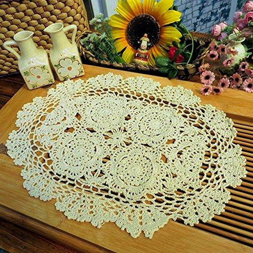 Yazi Sottobicchieri/tovagliette/centrini ovali, realizzati a mano  all\'uncinetto, ideali per decorare la cucina, colore beige, a forma di  fiore, 30 x ...