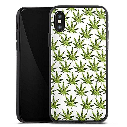 Apple iPhone X Silikon Hülle Case Schutzhülle Hanfblatt Gras Weed Muster Silikon Case schwarz