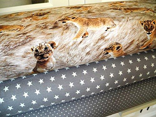 Lottashaus Jersey no55 Stoffpaket 3 Stück 50x70cm Löwe Löwenkinder Taupe Tupfen Sterne Baumwolljersey Kinder Kleidung Stoffe