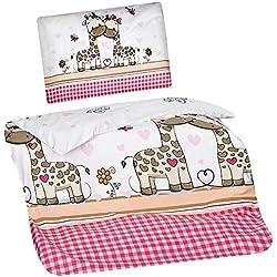 Aminata Kids Kinder-Bettwäsche 100-x-135 cm Zoo-Tier-e Safari Waldtier-e Dschungel Baby-Bettwäsche 100-% Baumwolle Renforce Weiss-e pink rosa Junge-n und Mädchen Giraffe-n Herz-en