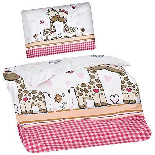 feuerwehr bettwaesche fuer erwachsene Aminata Kids Kinder-Bettwäsche 100-x-135 cm Zoo-Tier-e Safari Waldtier-e Dschungel Baby-Bettwäsche 100-% Baumwolle Renforce Weiss-e pink rosa Junge-n und Mädchen Giraffe-n Herz-en