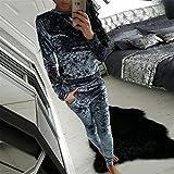 LnLyin Damen Anzug Pullover + Hose Herbst und Winter Damen Sportbekleidung Freizeitmode SAMT Anzug Sportbekleidung Grau M