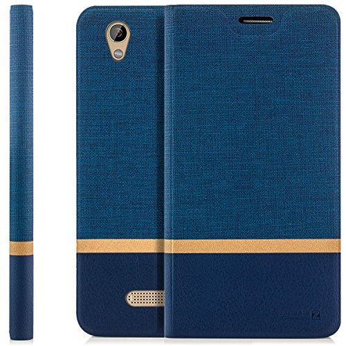 zanasta Tasche kompatibel mit ZTE Blade A452 Hülle Flip Case Schutzhülle Handytasche mit Kartenfach Blau