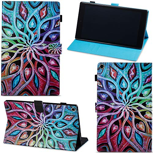 le Fire HD 10 10.1 Tablet 10.1 Tablet Hülle Flip PU Leder Tasche Case Cover Wallet Standfunktion mit Kartenfächer für Neue Fire HD 10-Tablet (10,1 Zoll) - Bunt Blume ()